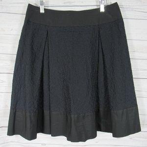 Akris Punto Skirt Womens Size 8 Black Blue Floral